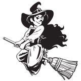 Эскиз милого молодого летания ведьмы хеллоуина на ручке веника вектор бесплатная иллюстрация