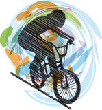 эскиз мужчины велосипеда Стоковое Изображение RF