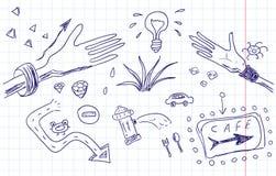 Эскиз нарисованный рукой. Doodles тетради Стоковая Фотография RF
