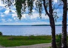 Эскиз озера на летний день Стоковые Изображения RF