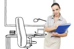 Эскиз офиса бизнес-леди иллюстрация штока