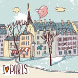 Эскиз Парижа городской Стоковые Изображения RF