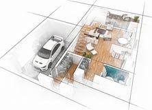 Эскиз плана здания Стоковые Изображения RF