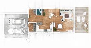 Эскиз плана здания Стоковые Фотографии RF