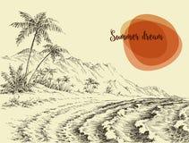 Эскиз пляжа и моря бесплатная иллюстрация