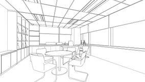 Эскиз плана внутреннего офиса Стоковое Изображение RF