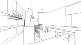 Эскиз плана внутреннего района кладовки Стоковая Фотография RF
