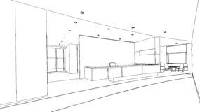 Эскиз плана внутренней приемной Стоковое Изображение RF