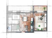 Эскиз плана здания Стоковое Фото