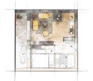 Эскиз плана здания Стоковая Фотография