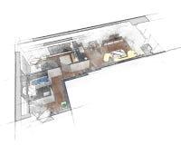 Эскиз плана здания Стоковые Фото