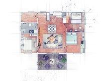 Эскиз плана здания Стоковая Фотография RF