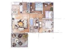 Эскиз плана здания Стоковое фото RF