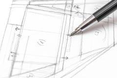 Эскиз плана дома чертежа руки архитектора Стоковое Изображение