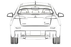 Эскиз развития x Мицубиси седана иллюстрация 3d Стоковое фото RF