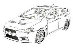 Эскиз развития x Мицубиси седана иллюстрация 3d Стоковые Фотографии RF