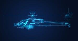 эскиз рамки провода 3d вертолета апаша Стоковые Изображения RF