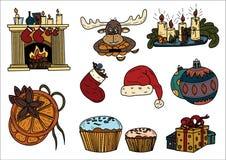 Эскиз рождества с тематической иллюстрацией объектов Стоковое Изображение