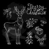Эскиз рождества на черной доске Бесплатная Иллюстрация