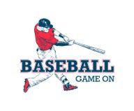Эскиз руки вычерченный бейсболиста с мотивационным оформлением изолированного на белой предпосылке Винтажный логотип Игра дальше иллюстрация штока