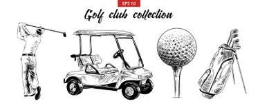 Эскиз руки вычерченный установил сумки гольфа, тележки, шарика и игрока в гольф в черноте изолированных на белой предпосылке Дета иллюстрация вектора