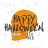 Эскиз руки вычерченный черепа с современным текстом оформления Детальный винтажный вытравляя чертеж стиля, карта хеллоуина для пр иллюстрация штока