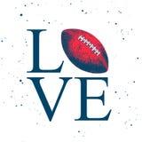 Эскиз руки вычерченный шарика американского футбола с современным оформлением на белой предпосылке Детальный винтажный чертеж сти бесплатная иллюстрация