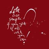 Эскиз сердца с выражением о влюбленности Стоковые Фотографии RF