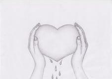 Эскиз сердца Blooded нарисованный рукой Стоковые Изображения RF