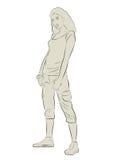 эскиз силуэта девушки sporty иллюстрация вектора