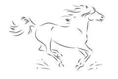 Эскиз силуэта скакать лошадь Стоковое фото RF