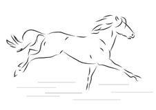 Эскиз силуэта скакать лошадь - vector иллюстрация Стоковые Фотографии RF