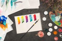 эскиз смешанных красок акварели Стоковое фото RF