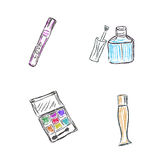 Эскиз, состав, продукты, косметики, иллюстрация вектора иллюстрация штока