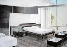 эскиз спальни Стоковое фото RF