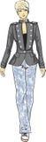 Эскиз способа женщины в воинской куртке Стоковые Фотографии RF