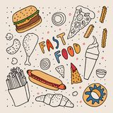 Эскиз стиля doodle фаст-фуда Freehand черно-белый чертеж с некоторыми цветами Донут мороженого куриной ножки бургера бесплатная иллюстрация