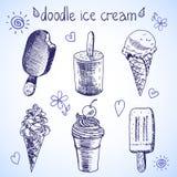 Эскиз стиля замороженного десерта мороженого Doodle Стоковые Изображения RF