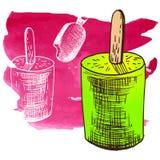 Эскиз стиля замороженного десерта мороженого Doodle Стоковое фото RF