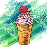 Эскиз стиля замороженного десерта мороженого Doodle Стоковое Изображение RF