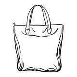 Эскиз сумки tote пляжа также вектор иллюстрации притяжки corel Стоковая Фотография