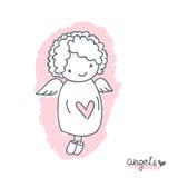 Эскиз с милым ангелом Стоковые Фото