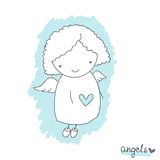 Эскиз с милым ангелом Стоковое Фото