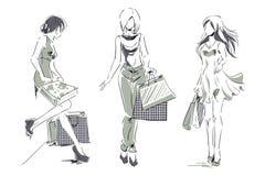 Эскиз с элегантными девушками с хозяйственными сумками Стоковое Изображение RF