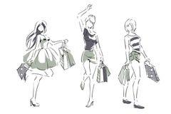 Эскиз с элегантными девушками с хозяйственными сумками Стоковая Фотография