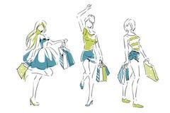 Эскиз с элегантными девушками с хозяйственными сумками Стоковые Фотографии RF