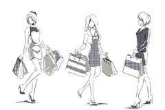 Эскиз с элегантными девушками с хозяйственными сумками Стоковая Фотография RF