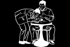Эскиз тонкого человека принимает еду от жирного человека в кафе бесплатная иллюстрация