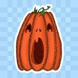 Эскиз тыквы хеллоуина с открытым ртом стоковые фотографии rf