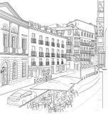 Эскиз улицы Мадрида Стоковая Фотография RF